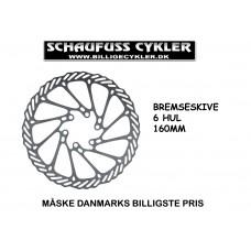 BREMSESKIVE MED 6 HULLER - 160MM - SØLV