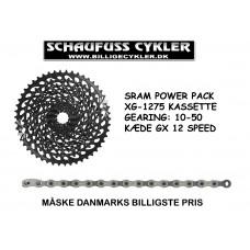 SRAM POWER PACK 12 SPEED 10-50 KÆDE OG KASSETTE - 12 SPEED 10-50 - SORT