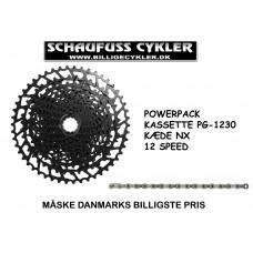 SRAM POWER PACK 12 SPEED 11-50 KÆDE OG KASSETTE - 12 SPEED 11-50 - SORT